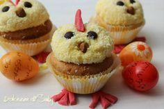 Ecco idea simpatica per pasqua: dei pulcini golosi, sono dei cupcakes coperti di crema pasticcera che con delle semplici decorazioni si trasformano in pulc