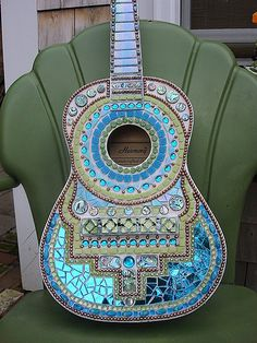 Mosaic Guitar by Crooked Moon Mosaics, via Flickr- how she did it