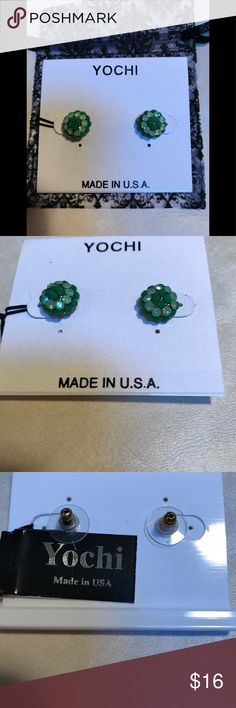 "NWT Yochi sunburst studs. NWT Yochi sunburst posts.  Measure 1/4"" at widest point. A beautiful green combo. Made in USA. Dust bag included. Yochi Jewelry Earrings"