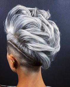 33 Short Grey Hair Cuts and Styles - Hair ColorMohawk With Shaved Stripe ❤ Are you looking for the most flattering short grey hair color ideas and styles? Check out our amazing collection to get Short Grey Haircuts, Short Haircut, Fade Haircut, Short Hairstyles For Women, Punk Pixie Haircut, Blonde Haircuts, Undercut Hairstyles, Cool Hairstyles, Wedding Hairstyles