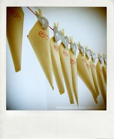 Paper cones on a garland: advent calendar