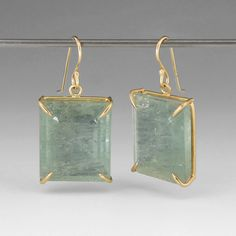 "These Rosanne Pugliese earrings are an heirloom in the making!  The spectacular moss aquamarine cubes are set in minimal 18k yellow gold prongs, allowing the stone's natural beauty to shine.  <br><br>Earrings measure 1"" long and 0.5"" wide."