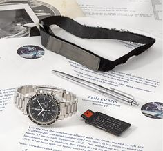 A watch that accompanied Captain Ron Evans, one of only 24 people to have flown to the Moon, aboard Apollo 17 — a unique opportunity for collectors to own a flown Speedmaster from the Apollo missions Ron Evans, Omega Speedmaster Watch, Moon Watch, Speedmaster Professional, G Shock, Velcro Straps, Seiko, Vintage Watches, Casio