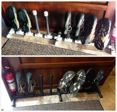 Keeping all those shoes out of the way is a pain. See this simple mod that uses PVC pipe to create a custom RV shoe rack for your RV.