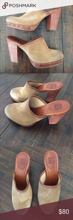 Frye Clogs Great used condition Frye clogs. Beautiful distressed suede outer and pretty leather x's around the sole. Perfect staple for fall! Frye Shoes Mules & Clogs