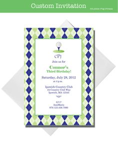 Golf Party  Custom Invitations  Set of 10 by LittlePigPress, $15.00