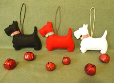 Set of 3 Christmas ornaments Scottish Terrier by CozyRiverCottage, $27.00