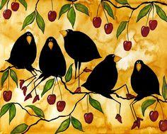 cherries on animal print   are no comments for Crow Bird Blackbird Raven Wildlife Animal Cherry ...