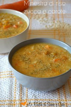 Pumpkin and carrot rice soup - Minestra di riso zucca e carote Italian Soup, Italian Dishes, Italian Recipes, Entree Recipes, Veg Recipes, Healthy Recipes, I Love Food, Good Food, Beef Tagine
