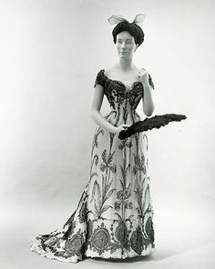 """Dress in 1899, French in silk. Style worn during """"The Guermantes Way."""" (http://www.metmuseum.org/Collections/search-the-collections/80028700?advsrc=true=true=french=silk=any=any=8=date-earliest=Between=739=60=20=1172)"""