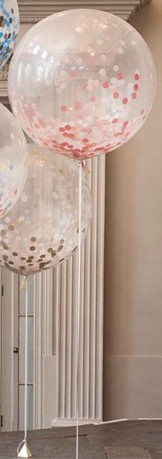"Pink and Gold Minnie Mouse first birthday party decorating idea: Confetti Balloon - Peach - 12 inch - Metallic Rose Gold Copper Ivory Beige Blush Pink - 3/4"" Circle Filled - Handmade Tissue Paper. Buy for $3.00 on Etsy: https://www.etsy.com/listing/225254296/confetti-balloon-peach-choose-12-16-18?ref=shop_home_active_6 For more ideas, follow A Pop of Party!"
