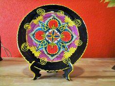 Mandala pintada no prato- técnica marroquina