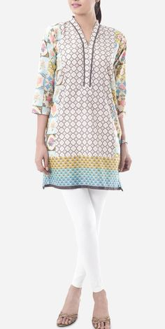 Buy Beige Embroidered Cotton Lawn Kurti by Khaadi Lawn Kurti Collection 2015.