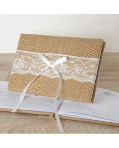 #LibroDeFfirmas en yute con blonda para #bodas a juego con cojín