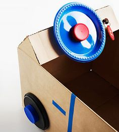 Cute Cardboard Box Crafts: Cardboard Box Car: Steering Wheel  Instructions at  http://www.parents.com/holiday/christmas/crafts/genius-and-fun-crafts-to-make-with-leftover-boxes/?page=5