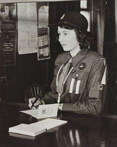 Queen Elizabeth II (b. 1926) when Princess Elizabeth, registering at a Labour…