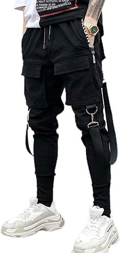 2e965dd795 Amazon.com: MOKEWEN Men's Multi Pocket Street Punk Hip Hop Casual Cargo  Trousers Joggers