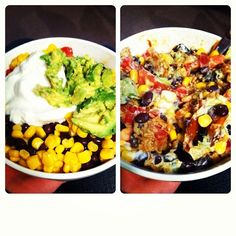 Homemade chipotle bowl with brown rice, chicken, tomatoes, avocado, corn, roasted veggies and greek yogurt