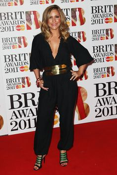 Heidi Range Jumpsuit - Heidi Range hit the 2011 Brit Awards red carpet in style as she wore a black jumpsuit with plunging V-neckline.