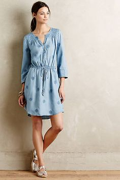 Plumage Chambray Dress rom anthropologie.com  Casual everyday shirt dress