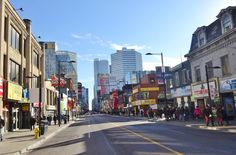 facing south from Gerrard St. Downtown Toronto, Street View, Face, The Face, Faces, Facial