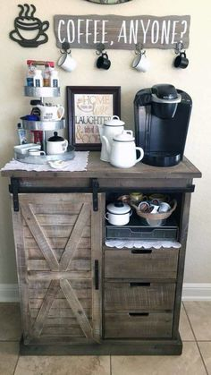 The best ways to build your own Coffee Station at the office, these ideas will blow your mind Coffee Bars In Kitchen, Coffee Bar Home, Home Coffee Stations, Coffee Bar Ideas, Coffe Bar, Coffee Station Kitchen, Coffee Bar Station, Tea Station, Coffee Kitchen Decor