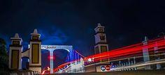 pesona Jembatan Surobayan malam hari di Pekalongan