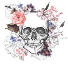 tatouage tete de mort: Jour Skull and Flowers of The Dead