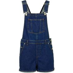 TOPSHOP MOTO Denim Short Dungarees ($35) ❤ liked on Polyvore featuring jumpsuits, rompers, overalls, shorts, playsuits, dungarees, jumpsuit, indigo denim, jumpsuit overalls and blue rompers