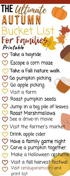 The ultimate list of fall family activities that are either free or cheap. Enjoy the changing colour of the leaves, a fall harvest festival or sip some hot apple cider. There's lots of fall fun for the whole family. Print our fall bucket list for free and get started! #autumnbucketlist #autumnactivities #fallcraftsforkids #thingstodoinfall Autumn Activities For Kids, Fall Crafts For Kids, Family Activities, Fall Festival Activities, Time Activities, Outdoor Activities, Herbst Bucket List, Bucket List Family, Fall Bucket Lists