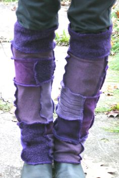 Harry and the Hippe Chic ooak Upcycled Reconstructed Patchwork Sweater Leg Warmers Purple Combo. $36.00, via Etsy.