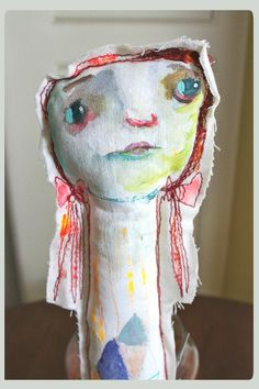 primitive art doll - Sarah - original stuffed doll by timssally. $44.00, via Etsy.