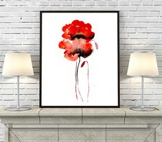 Painting Red Poppies, Watercolor Flowers Art Print, Watercolor Paintin Print, Flower Wall Decor - 24