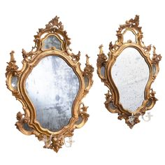 Pair of Venetian Giltwood Mirrors with Glass Candleholders, circa 1750 | From a unique collection of antique and modern wall mirrors at https://www.1stdibs.com/furniture/mirrors/wall-mirrors/