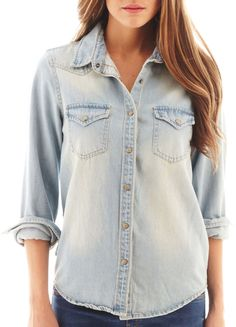 $65, Light Blue Denim Shirt: MNG by Mango Denim Shirt. Sold by jcpenney. Click for more info: https://lookastic.com/women/shop_items/253017/redirect