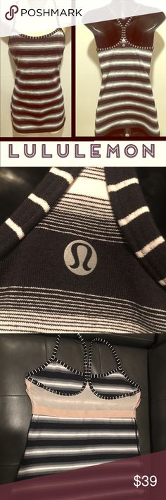 LULULEMON Y striped black white tank w bra support Comes from a pet and smoke free home. Will ship the same or next day. No trades. No PP. this item can come with one free ($10) or less item. Tag @jovish under the specific listing and I will include it in your 📦. please use the offer button when negotiating a price. Thank you for your interest and time 🦄🦄 lululemon athletica Tops Tank Tops