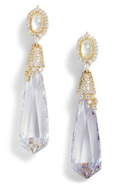 Watery briolettes capped in cubic-zirconia pavé drip with glamour.