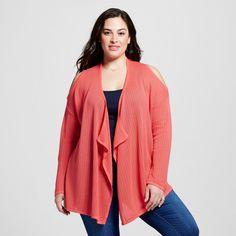 Women's Plus Size Lightweight Cold Shoulder Open Cardigan Orange 2X - U-Knit