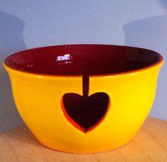 Yarn Bowl with simple heart yarn feed. by EarthWoolFire on Etsy, £40.00