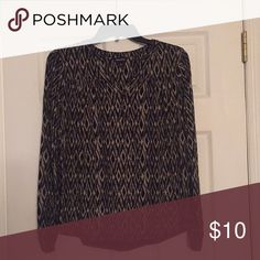 Lucky Brand Long sleeved top Abstract print in black and beige with split neck. Pretty little button details at cuffs and neck Lucky Brand Tops Tees - Long Sleeve