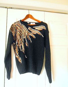 Vintage 80's sequin black pullover Sweater by houuseofwren on Etsy