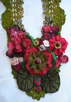 Floral beaded necklace olive and burgundy by KillarneyFields, $45.00