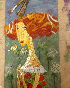 Мозаика из смальты по картине А. Сулимова. Фон- декоративная Штукатурка. Работа Полины Шиловой.