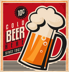 Drinks poster retro styles vectors material 01