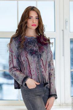 """Купить Валяный жакет """" Серебряный миг """". - серый, цветочный, одежда, жакет, пиджак"""