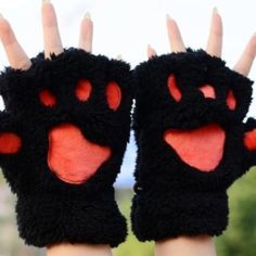 Black paw print gloves Cute and soft paw print gloves! Makes a great gift! Black and pink, new Accessories Gloves & Mittens