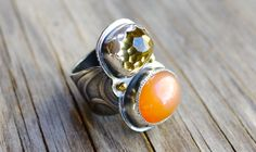 Two stone ring with moonstone and faceted citrine.