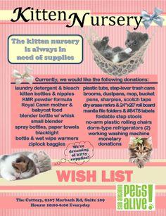 Wishlist for our Kitten Nursery!