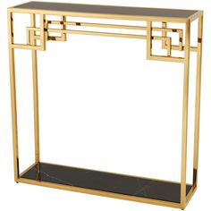 Eichholtz Morris Console Table - Gold ($1,730) ❤ liked on Polyvore featuring home, furniture, tables, accent tables, gold, rectangle table, art deco table, onyx table, black console table and black furniture
