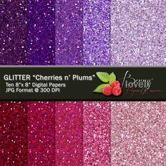 Glitter Digital Paper pack, printable, great for scrapbooking and more. For sale for $2.50 at my shop on Etsy.com. :)